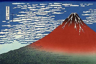 "Red Mount Fuji Southern Wind 8.5x11/"" Photo Print Katsushika Hokusai Japanese Art"