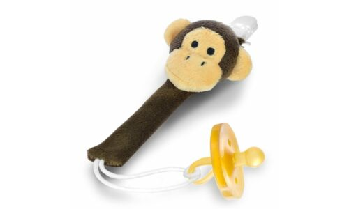 The Perfect Baby Paci Holder Plush Brown Monkey Pacifier Clip