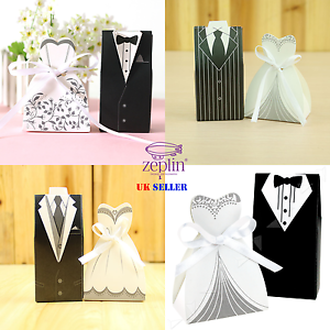 25 Pair Wedding Candy Boxes with Ribbon Bride and Groom Favour Bags Dress Tuxedo Chocolates Sweet Paper Bags Small Gift Boxes for Wedding Party Favours Anniversary Occasions
