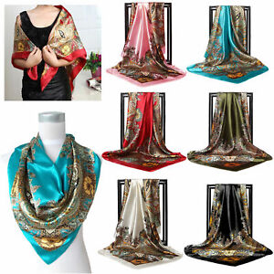 Designer-Scarf-Women-039-s-Fashion-Print-Satin-Silk-Head-Large-Shawl-35-034-35-034-NEW-UK