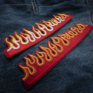 8df975edd93 Fire Flame Embroidered Sew On Iron On Patch Badge Fabric Applique ...