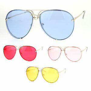 b11bc486f3c Image is loading SA106-Retro-Vintage-Rimless-Color-Oceanic-Lens-Aviator-