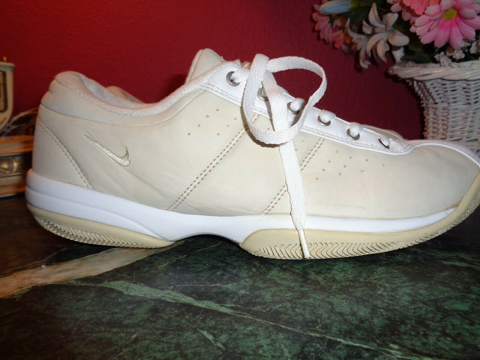 Nike womens bone faux leather and white  athletic shoe from Indonesia 11M xlnt Seasonal price cuts, discount benefits