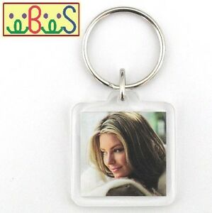 150x Blank Acrylic Keyrings 31x31mm Frame & 25x25mm Photo key ring plastic F1428