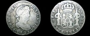 1821-RG Mexican War of Independence Zacatecas 2 Reales World Silver Coin -Mexico