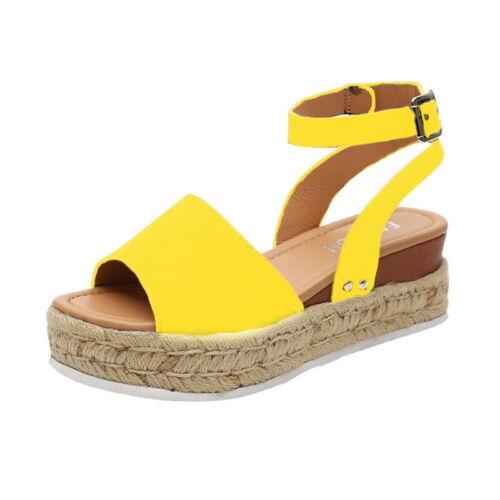 Women Ladies Flatform Cork Espadrille Sandals Wedge Ankle Summer Shoes Size 2019