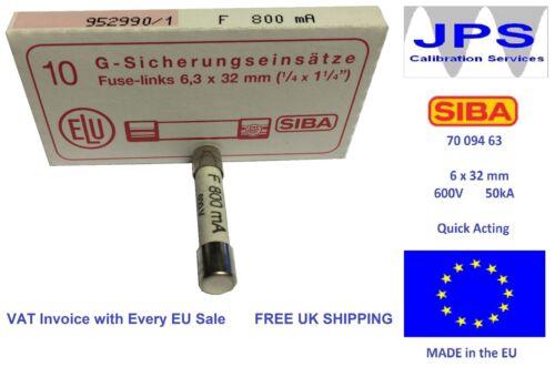 SIBA Fuse Quick Acting 800mA 70-094-63 F800mA 600V JPSF004a