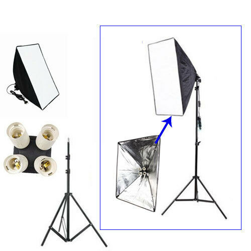 Photography Lighting Kit Softbox 50cm x 70cm + 4in1 E27 Lamp Head + Light Stand