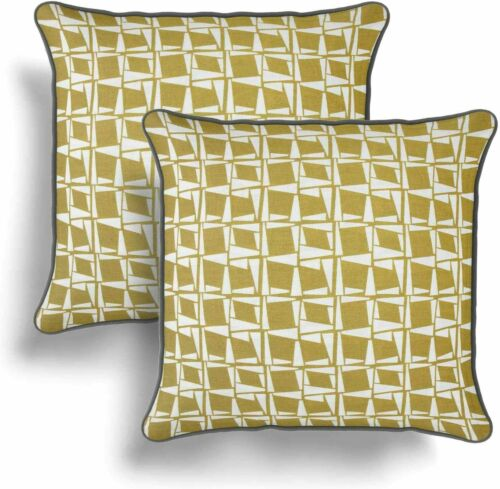 """Ochre Yellow and Grey abstract Geometric 2 Pack Cushion Covers 17/"""" Reversible"""