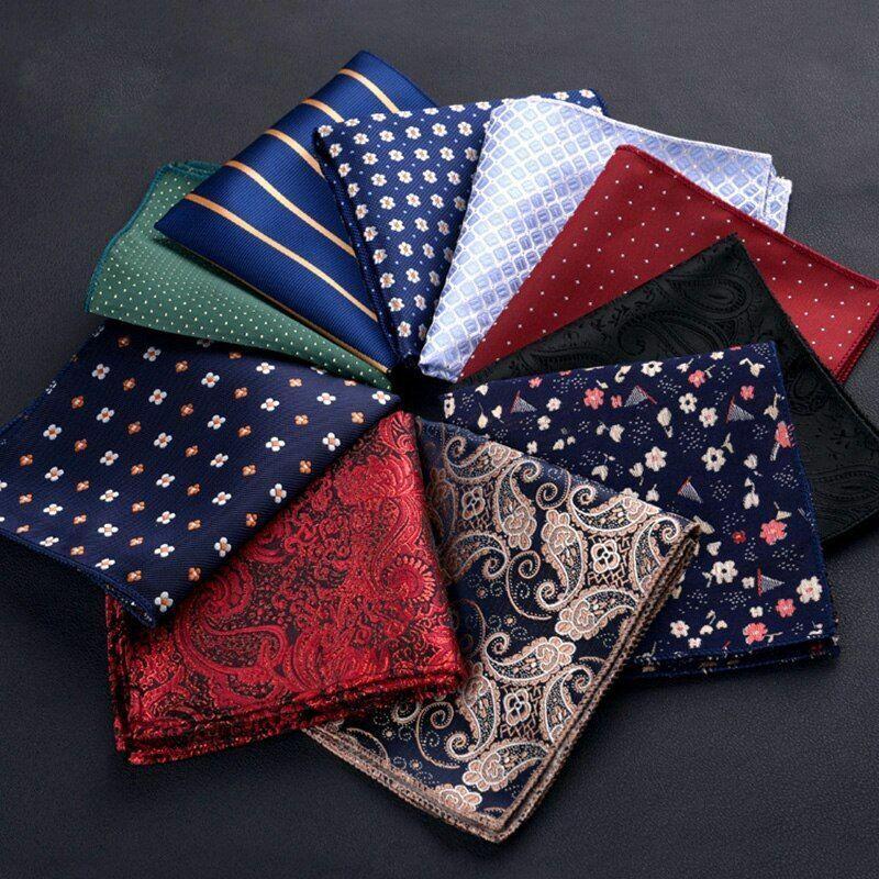 Rot Blau Seide Taschentücher Business Freizeit Quadrate Taschen Hochzeit Paisley