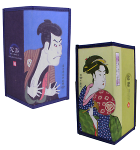 SET of 2 Japanese Rice Paper Wallets Two-Fold Ukiyoe Kabuki Geisha Made in Japan