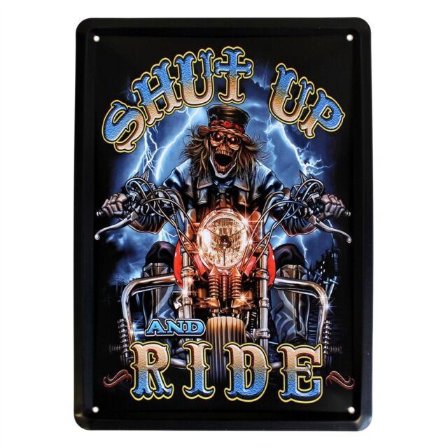 A) Old Skool Biker Style Skeleton Tattoo Metal Wall Plaque Sign Art Pub Club Bar