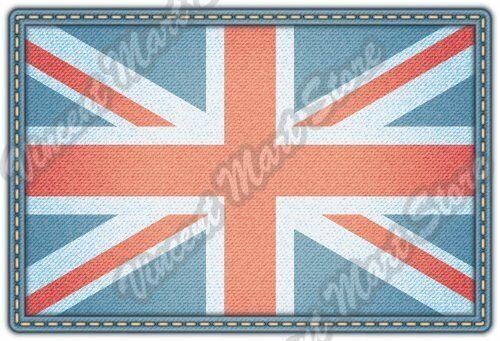 "United Kingdom Flag Denim Blue Jeans London Car Bumper Vinyl Sticker Decal 5/""X4/"""