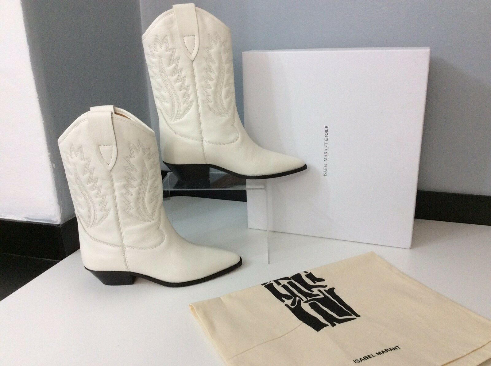Isabel Marant NEW Dallin WHITE Leather Boots Boots Boots Size 38 Uk 5 Rrp e3a471