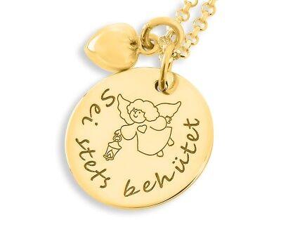 Geschenk für das Patenkind Engelschmuck Taufschmuck vergoldet Namenskette