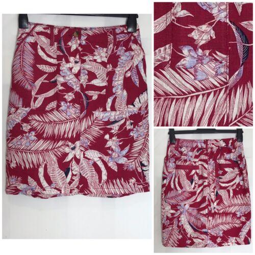 n-70h Next Berry Linen Mix Pocket Elastic Waist Beach Skirt 3 Lengths 8-26