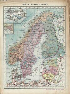 Cartina Mondo Alta Risoluzione.Carta Geografica Antica Scandinavia Baltico 2 Guerra Mondiale 1940 Antique Map Ebay