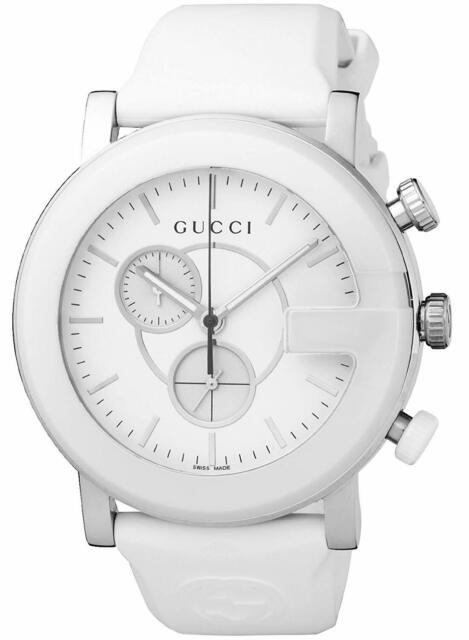 6428c20e13a Gucci G-Timeless Sapphire Chronograph White Dial Rubber Men s Watch YA101346  SD
