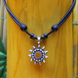 Surferkette-Lederkette-Halskette-Herrenkette-Damenkette-Halsband-Metallanhaenger