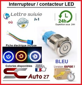 interrupteur / contacteur LED 16 mm avec fiche de connexion couleur bleu