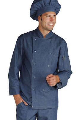 Abile Giacca Cuoco Chef Isacco Jeans 100% Cotone Bottoni A Pressione Chef Jacket Styling Aggiornato