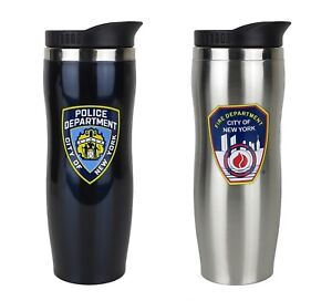 City Blue York Fdny Stainless Details Thermos Nypd About Travel Steel 7 Mug Silver New 435RqAjL