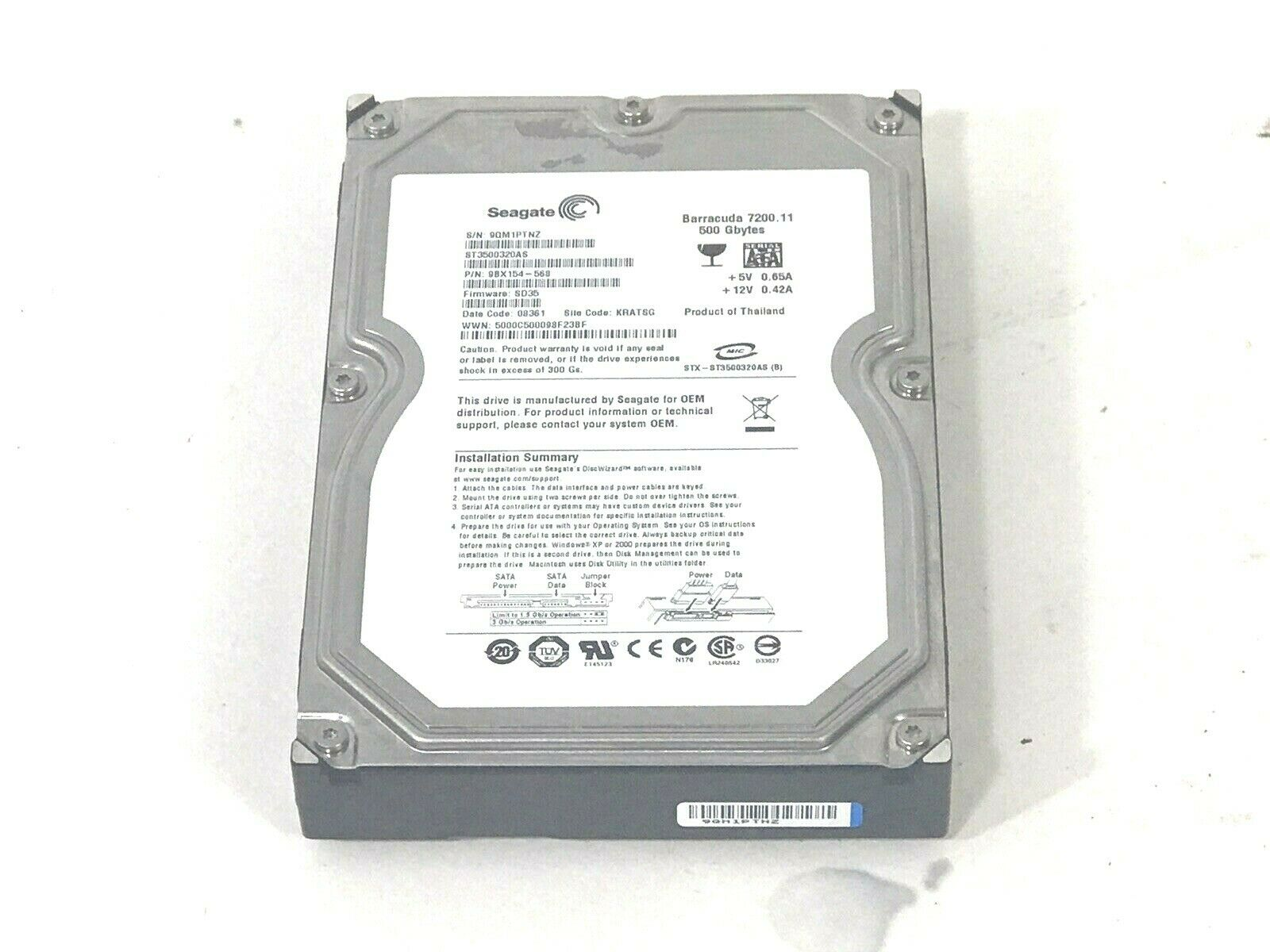 NEW 500GB 7200rpm 2.5 Laptop Hard Drive for Toshiba Satellite A350-ST3601 A505-S6969 A505-S6982 A660-BT2G25 C645D-SP4018M C655D-S5236 L305-SP5806R L505-SP6011L L655-S5106 L655D-S5076WH L775-S7245 M200-ST2002 M640-BT2N23 P305-S8844 P305D-S8845