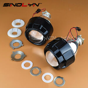 Mini Hid 2 5 Bi Xenon Projector Lens Kit Black Shroud Headlight Car