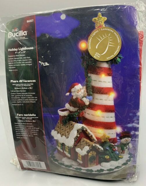Bucilla Felt Home Decor Applique Kit-3D Christmas Village House W// Lights