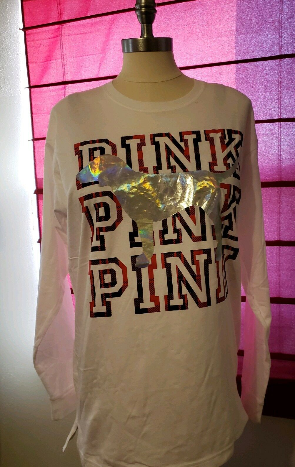 Victoria secret pink plaid large Long Sleeve T Shirt Womens Christmas