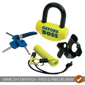 Oxford-Motorcycle-Motor-Bike-Boss-14mm-Thatcham-Approved-Disc-Lock-Yellow