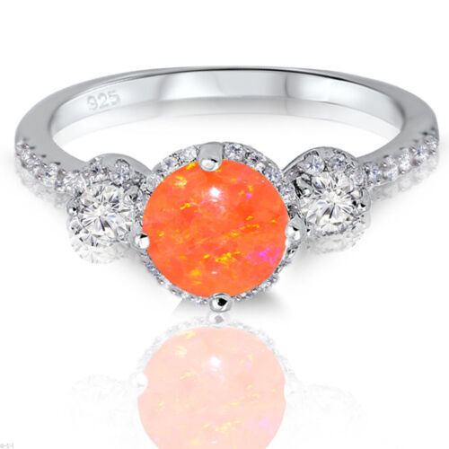 Mexican Fire Opal Gem Halo Sterling Silver Trending Fashion CZ Ring 2.17 Ctw