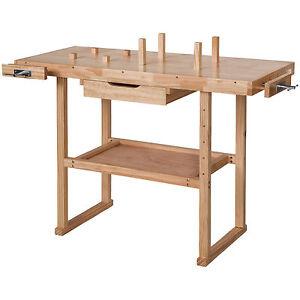 Holz Werkbank mit Schraubstock Werktisch Arbeitstisch Hobelbank Handwerkstisch