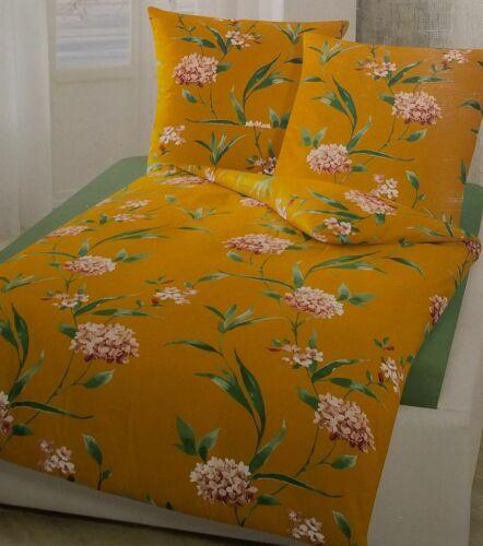 Bierbaum Renforce Bettwäsche Set 155 x 220 cm Braun mit Blumen Muster 3432 Curry
