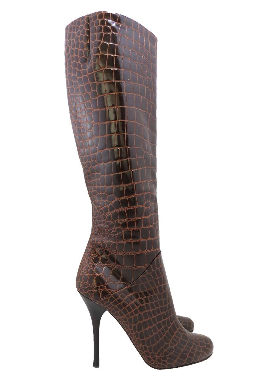 Giuseppe Zanotti Coñac Cocodrilo en relieve de Rodilla-Alto Rodilla-Alto Rodilla-Alto Puntera rojoonda botas Talla 38.5 Nuevo  estar en gran demanda