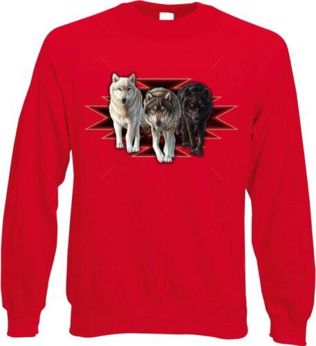 Felpa nel ecceso Lupo Animali//Natura Motivo Modello Wolves Indian Style