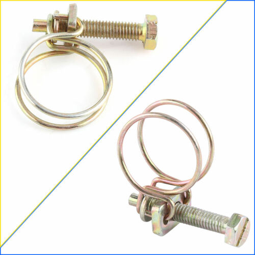 10xDouble Wire Hose Clamp Pipe Clip Screw Bolt Tight Fitting Classic Type Zinc E