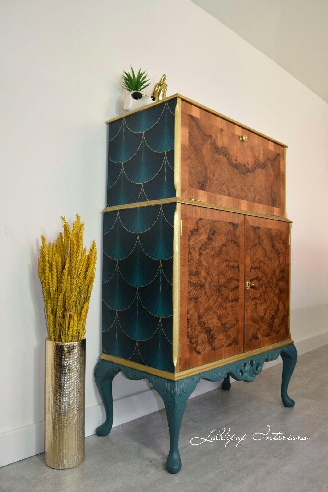 Armario de cóctel Art Deco En Oro Y Verde-gabinete de bebidas