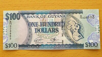 UNC 100 Dollars 2016 Banknote Note GUYANA P 36 P36