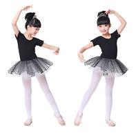 Girls Kids Ballet Dance Dress Gymnastics Leotard Skate Tutu Skirt Party Costume