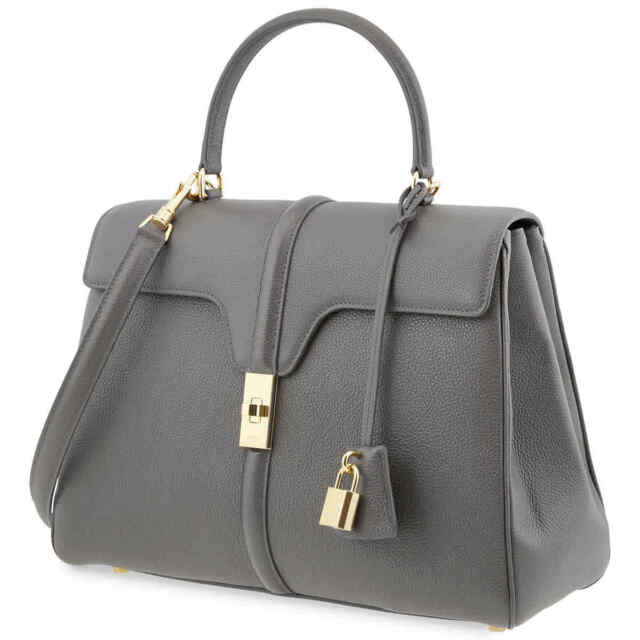 Celine Medium 16 Bag in Grained Calfskin- Grey 187373BF8.10DC