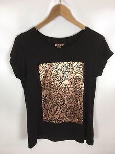 PAGE-ONE-T-Shirt-schwarz-Groesse-M-100-Baumwolle