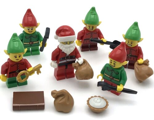 LEGO 6 NEW CHRISTMAS MINIFIGS XMAS SANTA/'S CLAUS HELPERS ELVES HOLIDAY SANTA