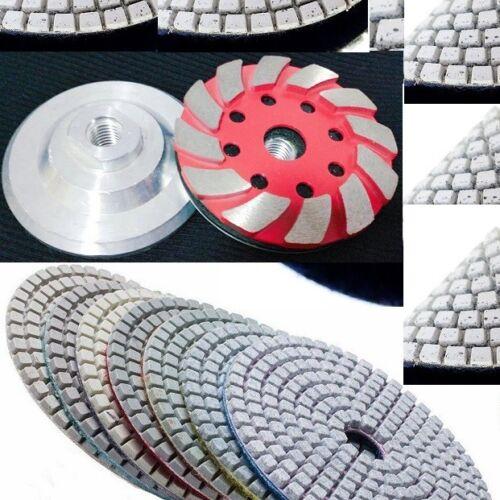 "5/"" Diamond Polish Pad aluminum based grinding cup 12+2 travertine stone concrete"