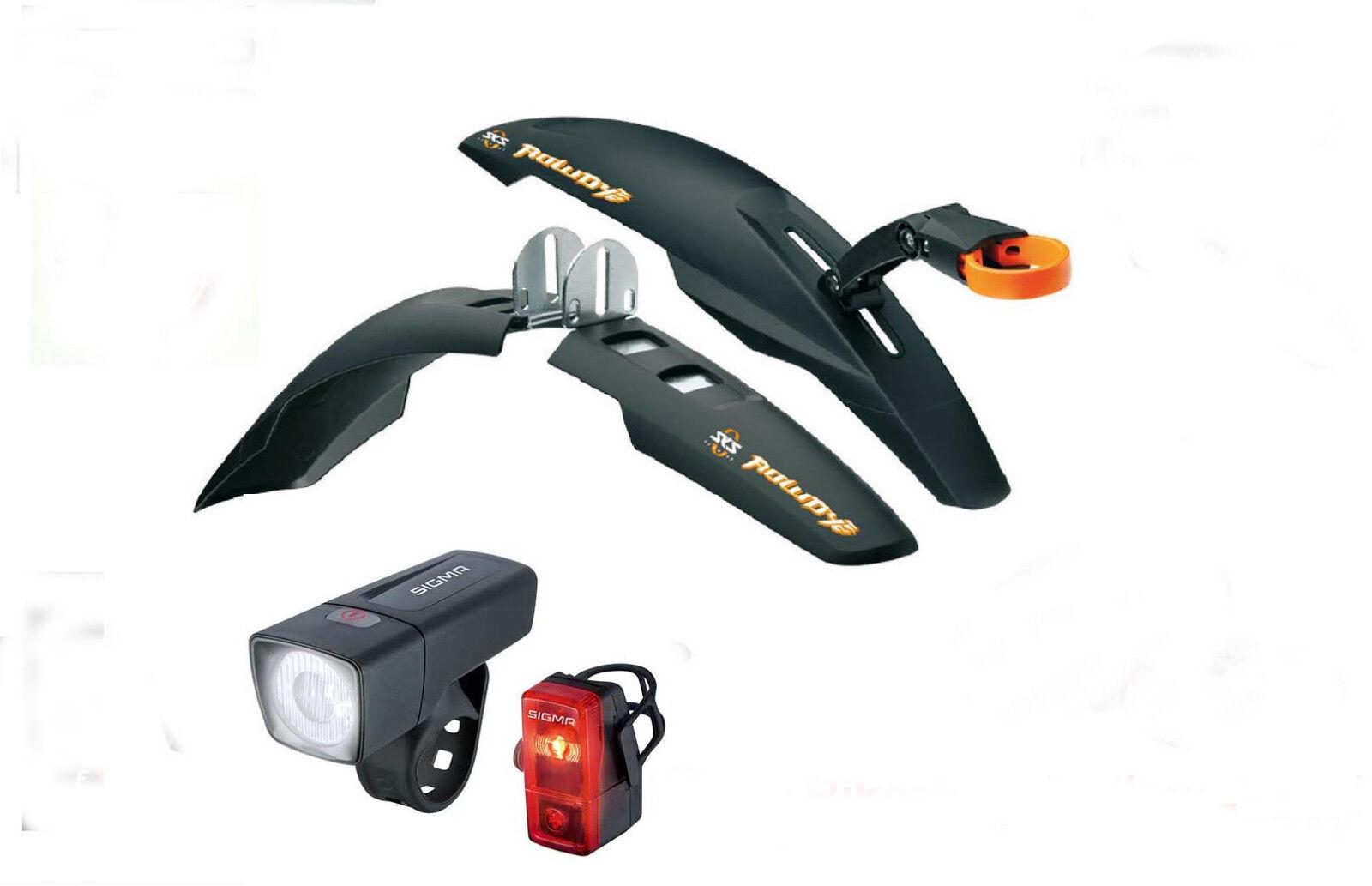 SKS Rowdy Set Dirtboard 20  -24  + Sigma LED beleuchtungsset, MTB, BMX,