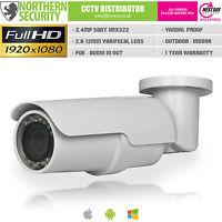 Sony Imx 2mp 2.8-12mm 1080p Onvif P2p 60m Bullet Poe Audio Ip Network Camera Nas