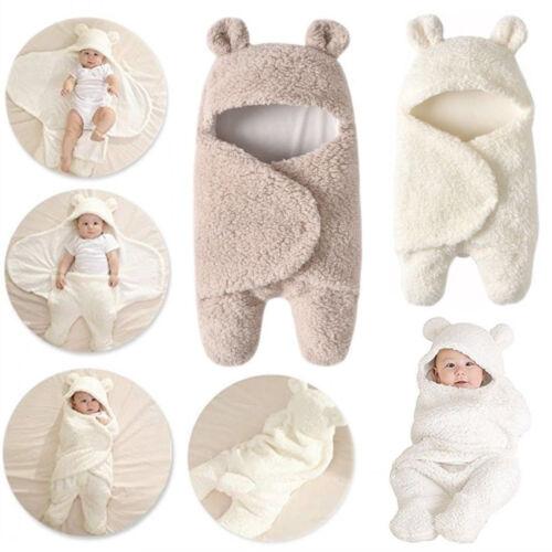 Newborn Baby Fleece Bear Hoodie Swaddle Wrap Winter Blanket Pram Sleeping Bags U