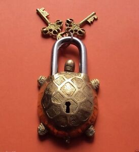 Vintage-Turtle-Tortoise-Door-LOCK-Padlock-brass-keys-antique-Pad-Vintage-lion