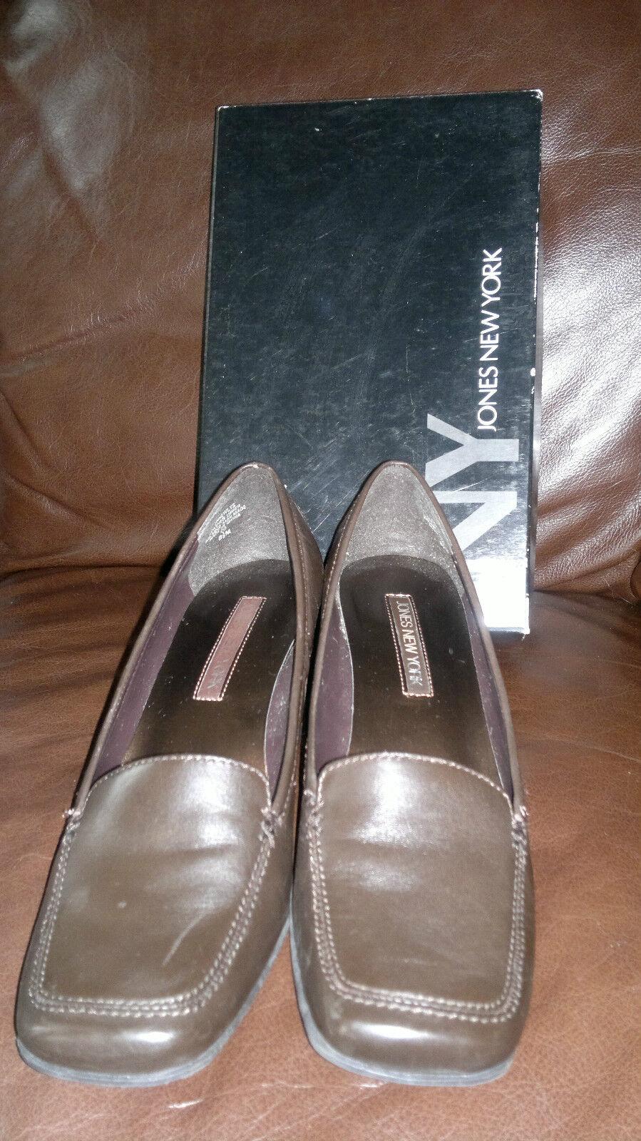 Jones New York brown leather block heel court shoes  -  uk  6.5(US 8.5M EU 39)