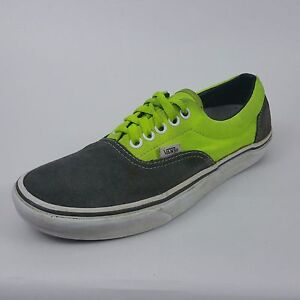 Vans Mens Size 6.5 Medium Lime Green Gray Suede Canvas Casual ... 5f1ebc11c